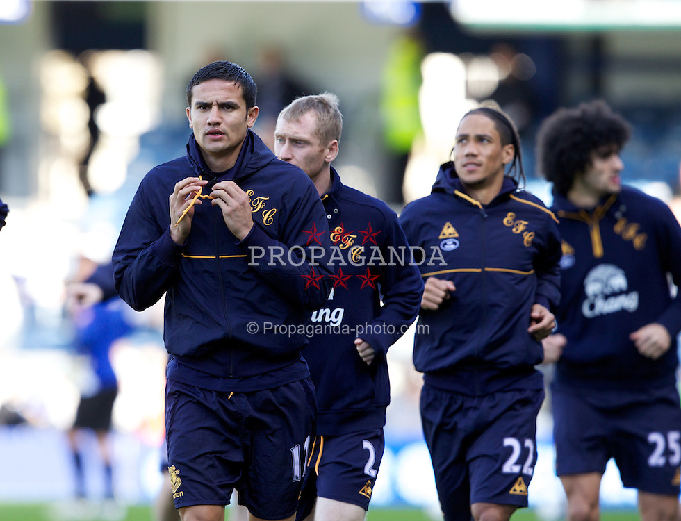 LONDON, ENGLAND - Saturday, March 3, 2012: Everton's Tim Cahill warms-up before the Premiership match against Queens Park Rangers at Loftus Road. (Pic by Vegard Grott/Propaganda)