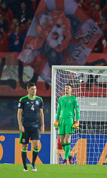 VIENNA, AUSTRIA - Thursday, October 6, 2016: Wales' goalkeeper Wayne Hennessey looks dejected as Austria score the second equalising goal during the 2018 FIFA World Cup Qualifying Group D match at the Ernst-Happel-Stadion. (Pic by David Rawcliffe/Propaganda)