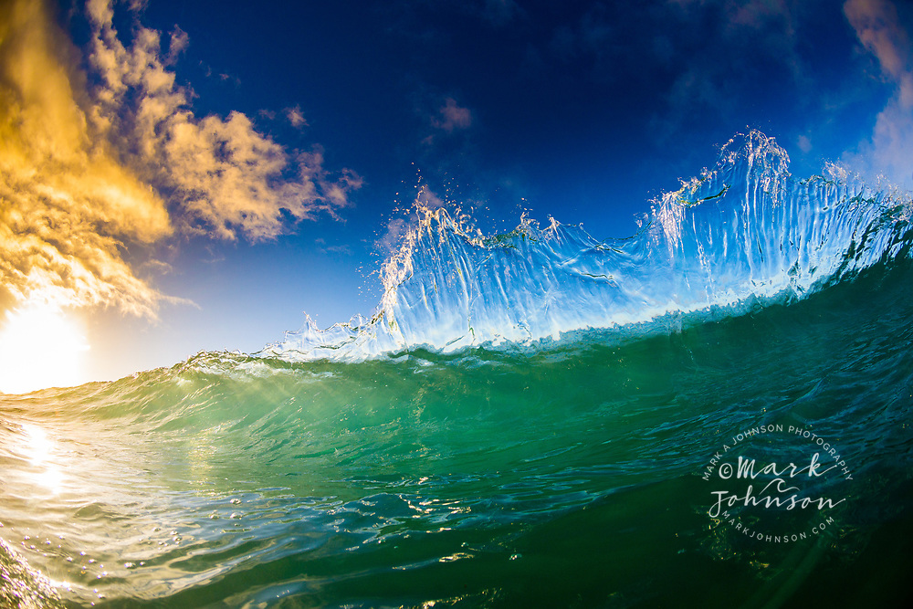 Breaking shorebreak wave at sunrise, Hawaii