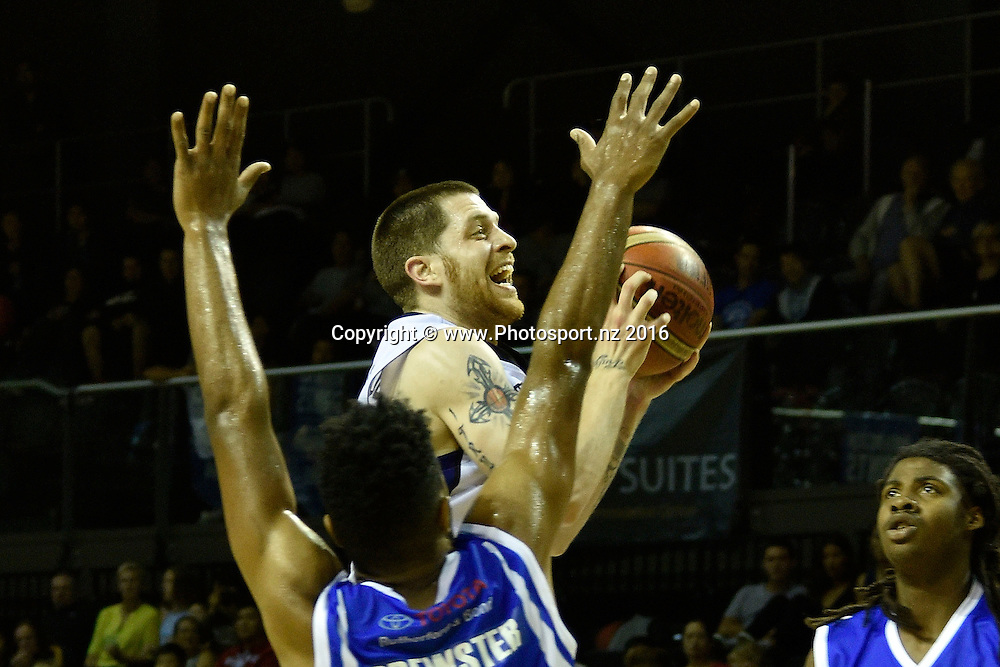 Eric Devendorf (Top) of the Rangers jumps to shoot during the NBL Wellington Saints vs Super City Rangers basketball match at the TSB Arena in Wellington on Thursday the 10th of March 2016. Photo by Marty Melville / www.Photosport.nz
