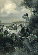 Scene during Spanish American War 1898. An almost ideal natural gun-pit was found near the beach[1910?] by F. C. (Frederick Coffay) Yohn, 1875-1933