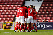 Swindon Town players celebrate a goal (3-0) during the EFL Sky Bet League 2 match between Swindon Town and Macclesfield Town at the County Ground, Swindon, England on 14 September 2019.
