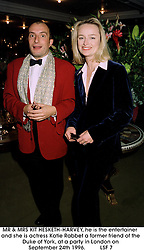MR & MRS KIT HESKETH-HARVEY, he is the entertainer and she is actress Katie Rabbet a former friend of the Duke of York, at a party in London on September 24th 1996.LSF 7