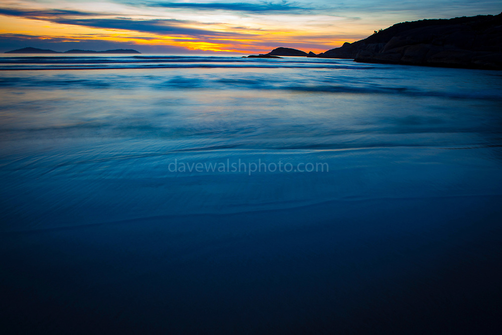 Sunset at Squeaky Beach at Wilsons Prom - so named because it squeaks under your foot.  Wilsons Promontory Marine Park, Gippsland, Victoria, Australia.