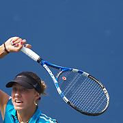 Yanina Wickmayer, Belgium, in action against Kateryna Bondarenko, Ukraine, during the US Open Tennis Tournament at Flushing Meadows, New York, USA, on Wednesday, September 9, 2009. Photo Tim Clayton.