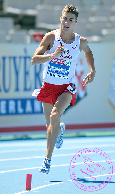 MARCIN LEWANDOWSKI (POLAND) COMPETES IN THE MEN'S 800 METERS QUALIFICATION DURING THE 2010 EUROPEAN ATHLETICS CHAMPIONSHIPS AT OLYMPIC STADIUM IN BARCELONA, SPAIN...SPAIN , BARCELONA , JULY 28, 2010..( PHOTO BY ADAM NURKIEWICZ / MEDIASPORT )..PICTURE ALSO AVAIBLE IN RAW OR TIFF FORMAT ON SPECIAL REQUEST.
