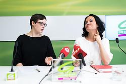 """03.05.2017, Grüner Parlamentsklub, Wien, AUT, Grüne, Pressekonferenz mit dem Titel """"Offener und freier Hochschulzugang muss erhalten bleiben"""". im Bild v.l.n.r. Spitzenkandidatin der GRAS – Grüne & Alternative Studentinnen zur ÖH-Wahl Marita Gasteiger und Grüne Klubobfrau Eva Glawischnig // during press conference of the parliamentary group the greens in Vienna, Austria on 2017/05/03. EXPA Pictures © 2017, PhotoCredit: EXPA/ Michael Gruber"""