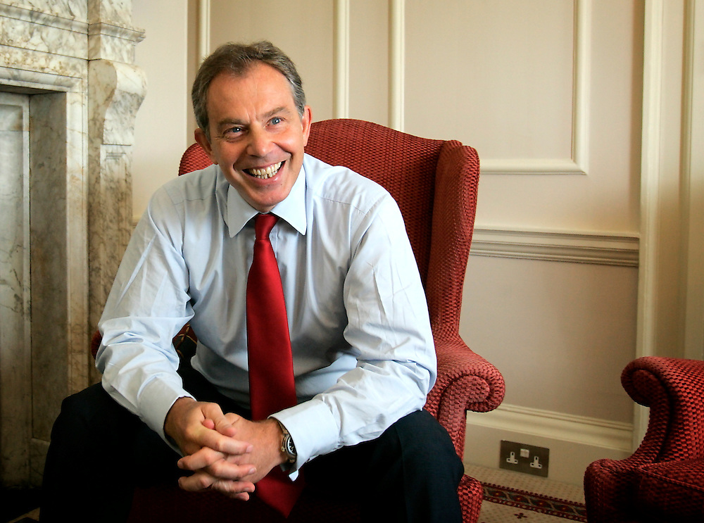 UK ENGLAND LONDON 30JUN05 - British Prime Minister Tony Blair reacts during interview in his study at 10 Downing Street, London. He granted a rare interview to foreign media in support of the London 2012 Olympic bid.<br />