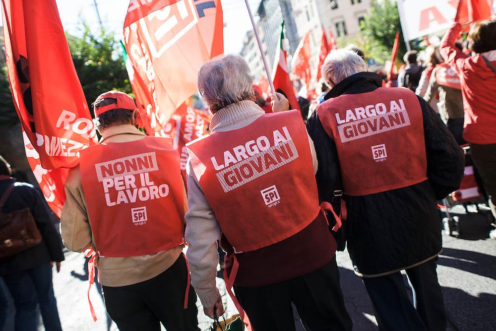 Manifestazione nazionale CGIL contro il Jobs Act del governo Renzi. Roma, 25 ottobre 2014.