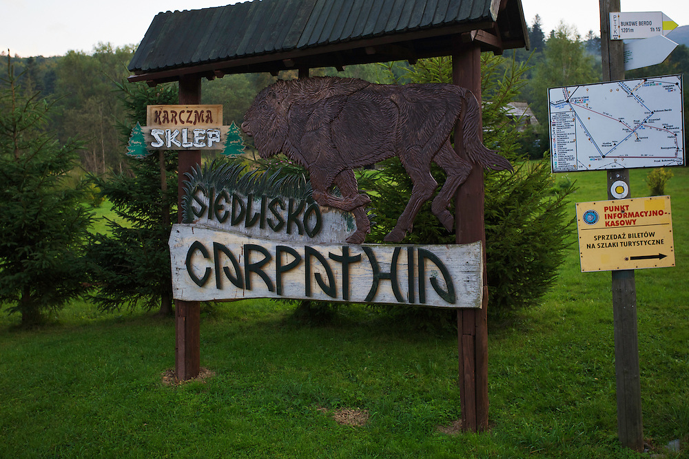 Sign showing a European bison or Wisent at the information center of Bieszczady National Park in Tarnawa Nizna, Poland.