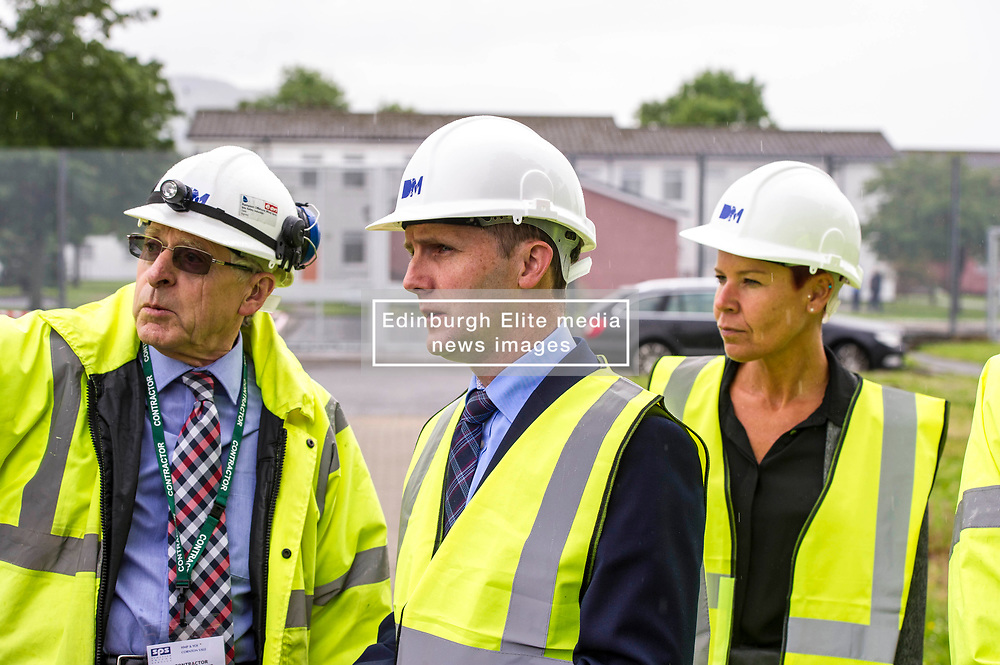 "Pictured: Contractor John  McArthur (left) ) discussed the demolition with the Minister and Govenor Caroline Johnstone<br /> Justice Secretary Michael Matheson joined governor Caroline Johnstone to mark the start of demolition of Corton Vale Prison today. Cornton Vale is a women's prison in Stirling, operated by the Scottish Prison Service. Built in 1975, Cornton Vale comprises a total of 217 cells in its 5 houses. Ministers decided to close the prison after former Lord Advocate Elish Angiolini warned it was ""not fit for purpose"".<br />  <br /> Ger Harley 