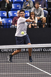 October 4, 2018 - St. Louis, Missouri, U.S - MARK PHILIPPOUSSIS with a forehand shot down the line for a point during the Invest Series True Champions Classic on Thursday, October 4, 2018, held at The Chaifetz Arena in St. Louis, MO (Photo credit Richard Ulreich / ZUMA Press) (Credit Image: © Richard Ulreich/ZUMA Wire)