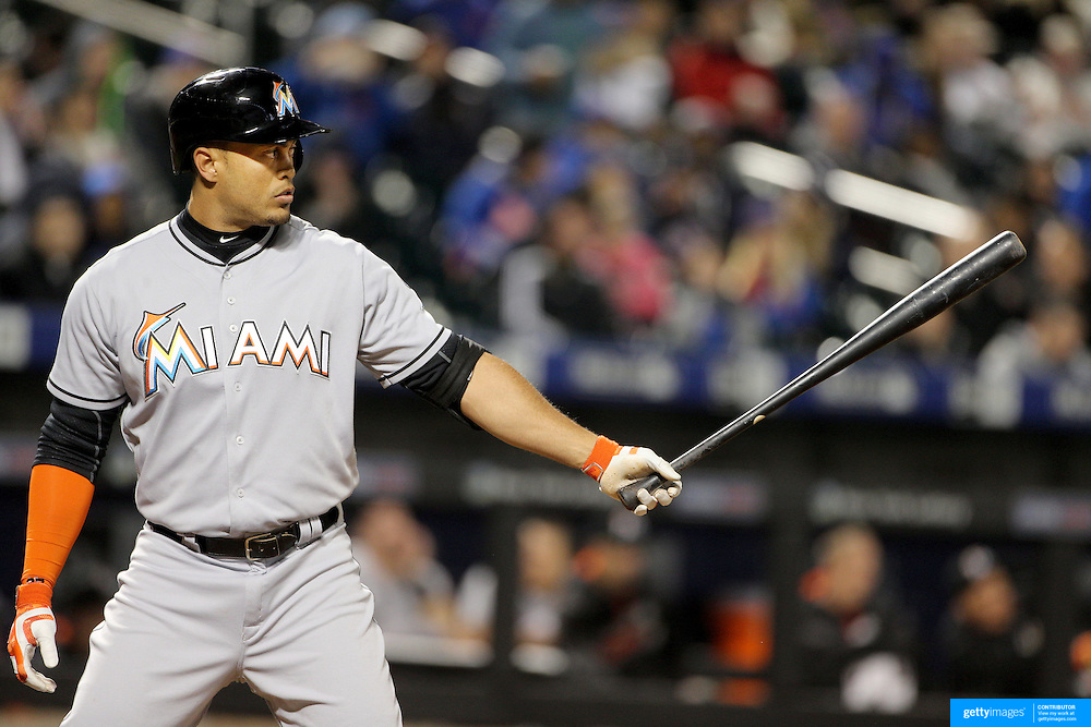NEW YORK, NEW YORK - APRIL 11: Giancarlo Stanton, Miami Marlins, batting during the Miami Marlins Vs New York Mets MLB regular season ball game at Citi Field on April 11, 2016 in New York City. (Photo by Tim Clayton/Corbis via Getty Images)
