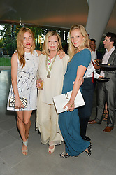 Left to right, SIENNA MILLER, JO MILLER and SAVANNAH MILLER at a summer drinks party hosted by Bec Astley Clarke at the Serpentine Sackler Gallery, Hyde Park, London on 17th June 2014.