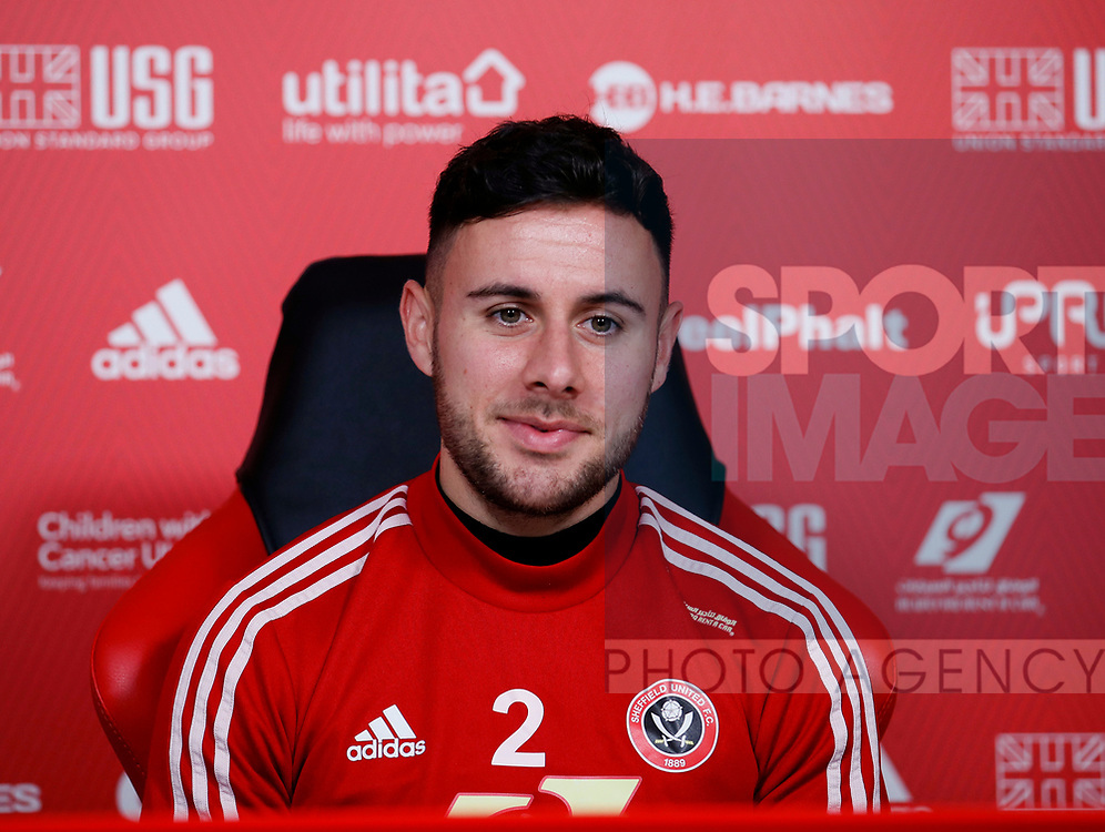 George Baldock of Sheffield Utd during the weekly press conference at the Steelphalt Academy, Sheffield. Picture date: 5th March 2020. Picture credit should read: Simon Bellis/Sportimage
