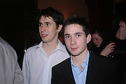 William McEwan and Greg MCewan. Book party for Saturday by Ian McEwan, Polish Club, South Kensington.  4 February 2005. ONE TIME USE ONLY - DO NOT ARCHIVE  © Copyright Photograph by Dafydd Jones 66 Stockwell Park Rd. London SW9 0DA Tel 020 7733 0108 www.dafjones.com