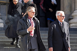 © Licensed to London News Pictures. 12/10/2012. LONDON, UK. Actor Jeremy Irons (L) is seen leaving St Paul's Cathedral after a memorial service for hairdresser Vidal Sassoon in London today (12/10/12) . Photo credit: Matt Cetti-Roberts/LNP