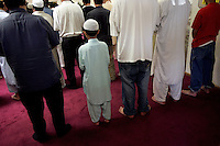 LODI, CA - JUNE 10:  Muslims attend afternoon Friday prayers at the Muslim Mosque on June 10, 2005 in Lodi California. Lodi, the sleepy Northern California town has been hit with controversy after 5 people were arrested by the FBI in connection with immigration and possible terrorist activities.   Photograph by David Paul Morris