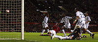 Photo: Paul Thomas.<br /> Manchester United v Europe XI. Friendly match. 13/03/2007.<br /> <br /> Wes Brown (Red) of Utd gets between the Europe defenders and scores.