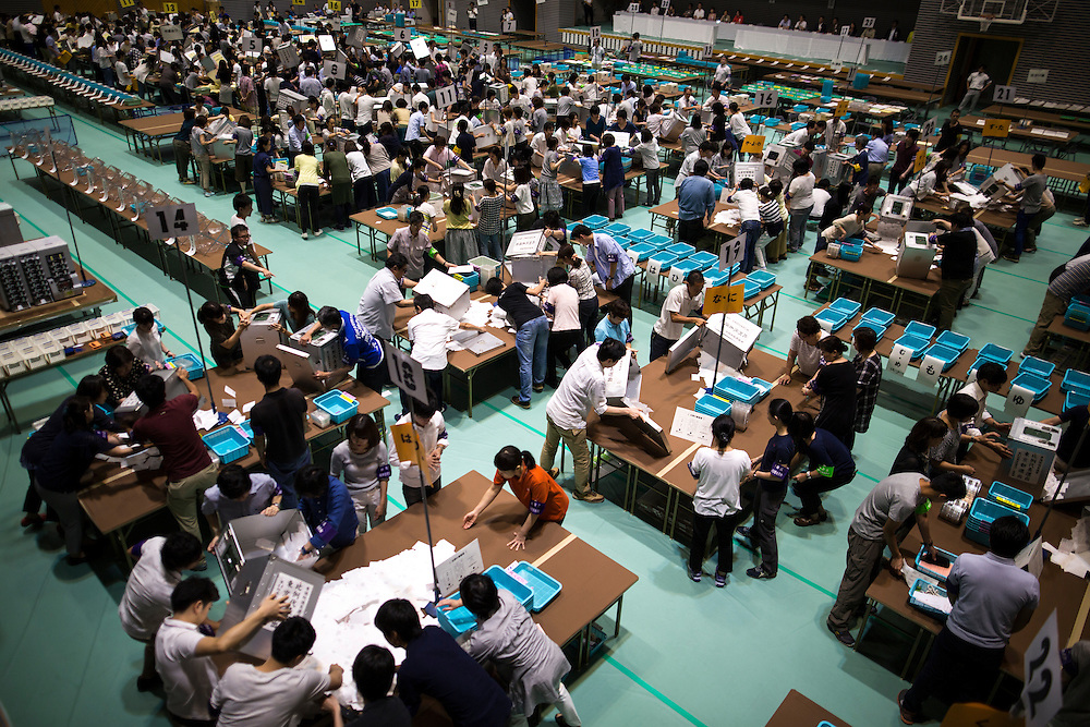 TOKYO, JAPAN - JULY 10 : Election staff members start counting votes for Parliament's upper house elections at a ballot counting center in Tokyo, Japan on Sunday, July 10, 2016. (Photo by Richard Atrero de Guzman/NUR Photo)