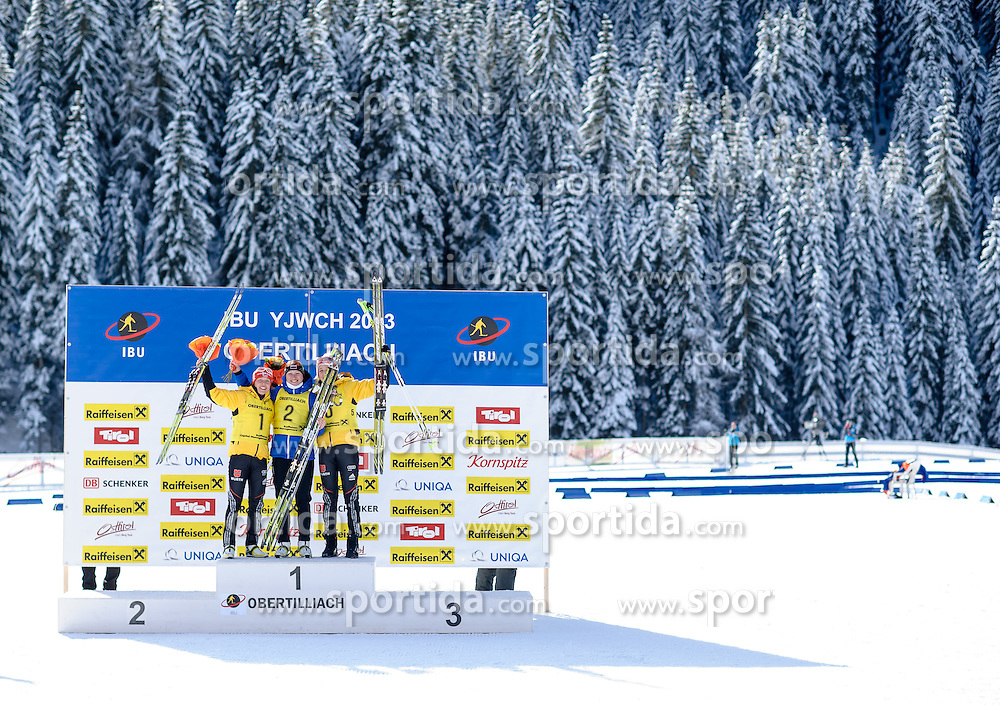 27.01.2013, Biathlonzentrum, Obertilliach AUT, IBU, Jugend und Junioren Weltmeisterschaften, Verfolgung Junioren Damen, im Bild v.l.n.r. Zweiter Platz Laura Dahlmeier (GER),  Gewinnerin Olga Podchufarova (RUS) und Dritter Platz Franziska Preuss (GER) // f.l.t.r. 2nd place Laura Dahlmeier from Germany, Winner Olga Podchufarova from Russia and 3rd place Franziska Preuss from Germany during the Pursuit Junior Women of IBU Youth  and Juniors World Championships at Biathloncenter, Obertilliach, Austria on 2013/01/27. EXPA Pictures © 2013, PhotoCredit: EXPA/ Michael Gruber