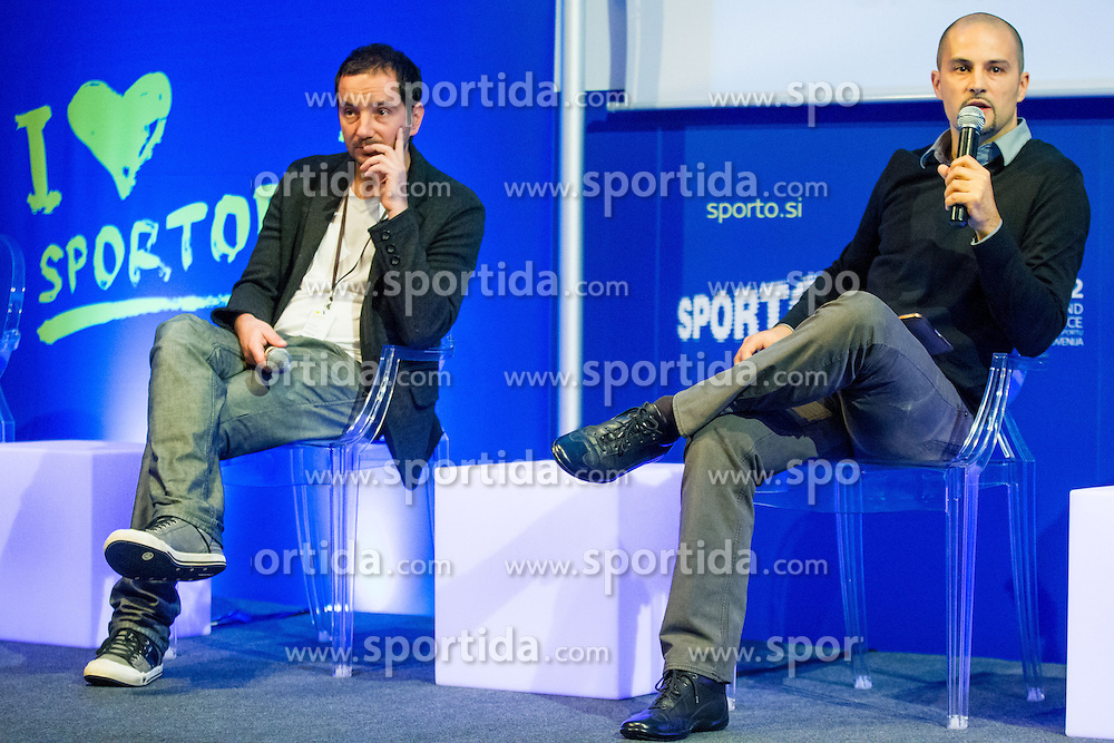 Uros Stanic of SPORT_US and Zoran Gabrijan of Futura DDB during sports marketing and sponsorship conference Sporto 2012, on November 26, 2012 in Hotel Slovenija, Congress centre, Portoroz / Portorose, Slovenia. (Photo By Vid Ponikvar / Sportida.com)