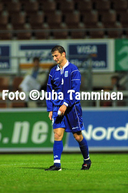 04.09.2001, Finnair Stadium, Helsinki, Finland. UEFA under-21 European Championship qualifying match, Finland v Greece. Dimitrios Papadopoulos (GRE U-21)..©JUHA TAMMINEN