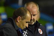 Everton's manager Roberto Martinez and Reading's Manager Steve Clarke during the Capital One Cup match between Reading and Everton at the Madejski Stadium, Reading, England on 22 September 2015. Photo by Mark Davies.