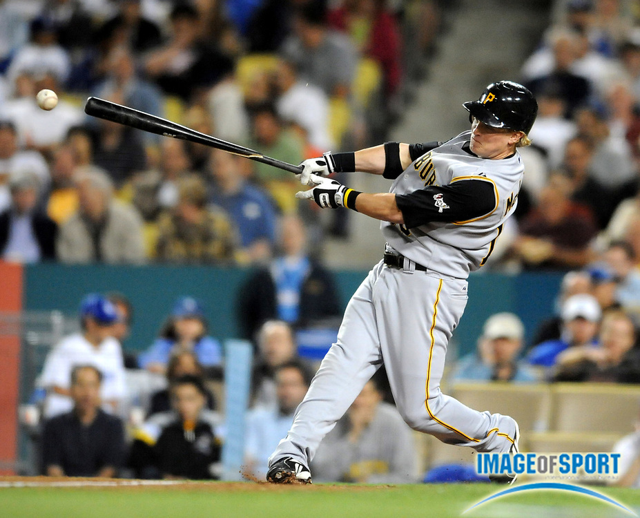 Apr 14, 2008; Los Angeles, CA, USA; Pittsburgh Pirates center fielder Nate McLouth (13) breaks his bat during 6-4 victory over the Los Angeles Dodgers at Dodger Stadium.