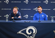 Apr 23, 2019; Thousand Oaks, CA, USA; Los Angeles Rams general manager Les Snead (left) and coach Sean McVay address the media at a press conference at Cal Lutheran University prior to the 2019 NFL Draft.