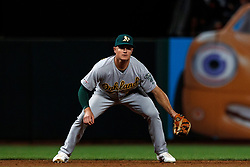 SAN FRANCISCO, CA - AUGUST 13: Matt Chapman #26 of the Oakland Athletics stands on the field during the eighth inning against the San Francisco Giants at Oracle Park on August 13, 2019 in San Francisco, California. The San Francisco Giants defeated the Oakland Athletics 3-2. (Photo by Jason O. Watson/Getty Images) *** Local Caption *** Matt Chapman