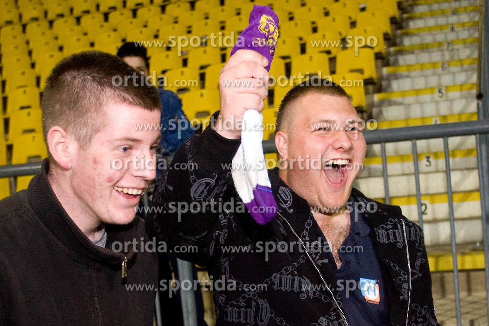 Viole fans of Maribor celebrate at Final football match  of Hervis Cup between NK Maribor and NK Domzale, on May 8, 2010, played in Ljudski vrt, Maribor, Slovenia. Maribor defeated Domzale after overtime 3-2 and became Slovenian Cup Champion. (Photo by Vid Ponikvar / Sportida)