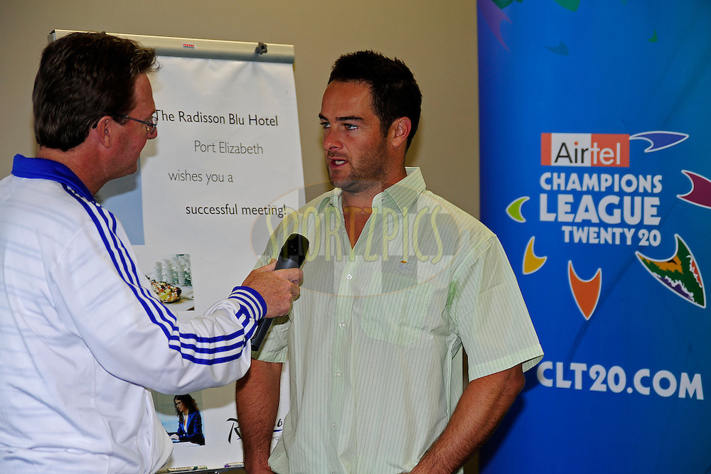 Mark Boucher being interviewed by Radio Algoa's Niel Bissiker during the Warriors press conference held at The Radisson Blu  hotel in Port Elizabeth on the 7th September 2010 held as part of the build up to the Champions League T20 tournament being held in South Africa between the 10th and 26th September 2010..Photo by: Deryck Foster/SPORTZPICS/CLT20