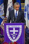 U.S. President Barack Obama chokes up as he delivers the eulogy at the funeral of slain State Senator Clementa Pinckney at the TD Arena June 24, 2015 in Charleston, South Carolina. Pinckney is one of the nine people killed in last weeks Charleston church massacre.