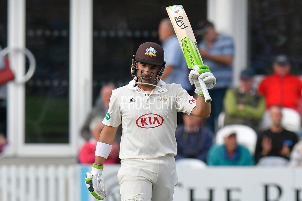 50 for Dean Elgar - Dean Elgar of Surrey celebrates scoring a half century during the opening day of the Specsavers County Champ Div 1 match between Somerset County Cricket Club and Surrey County Cricket Club at the Cooper Associates County Ground, Taunton, United Kingdom on 18 September 2018.