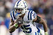 NASHVILLE, TN - DECEMBER 30:  Marlon Mack #25 of the Indianapolis Colts runs the ball for a touchdown during a game against the Tennessee Titans at Nissan Stadium on December 30, 2018 in Nashville, Tennessee.  The Colts defeated the Titans 33-17.   (Photo by Wesley Hitt/Getty Images) *** Local Caption *** Marlon Mack