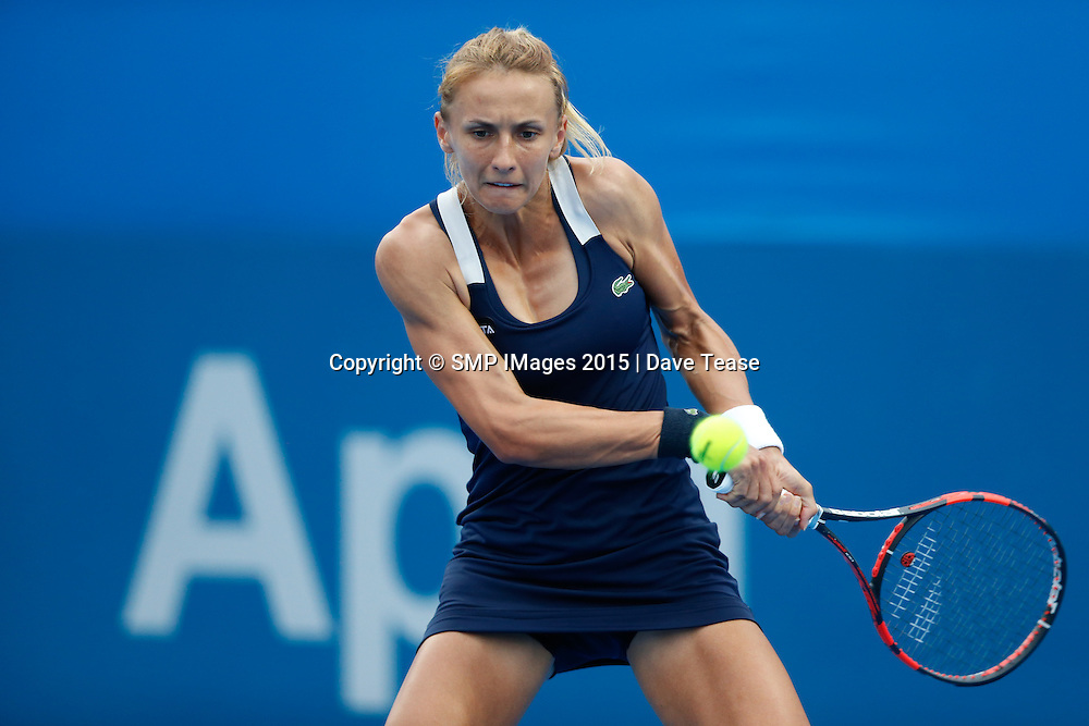 PHOTO: LESIA TSURENKO IN ACTION DAY ONE AT THE 2015 APIA SYDNEY INTERNATIONAL: PIC Dave Tease- SMP IMAGES.COM - 11 th January 2015