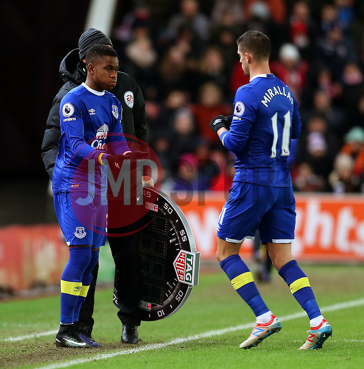 Ademola Lookman of Everton replaces Kevin Mirallas  - Mandatory by-line: Matt McNulty/JMP - 01/02/2017 - FOOTBALL - Bet365 Stadium - Stoke-on-Trent, England - Stoke City v Everton - Premier League