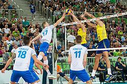 Tine Urnaut of Slovenia vs Bruno Mossa Rezende of Brasil during friendly volleyball match between national teams of Slovenia and Brasil in Arena Stozice on 9. September 2015 in , Ljubljana, Slovenia. Photo by Grega Valancic / Sportida