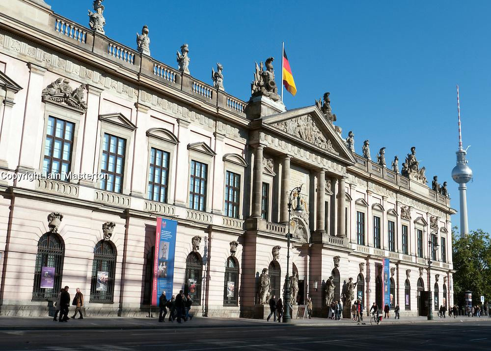 Front facade of German History Museum or Historisches museum in Mitte Berlin