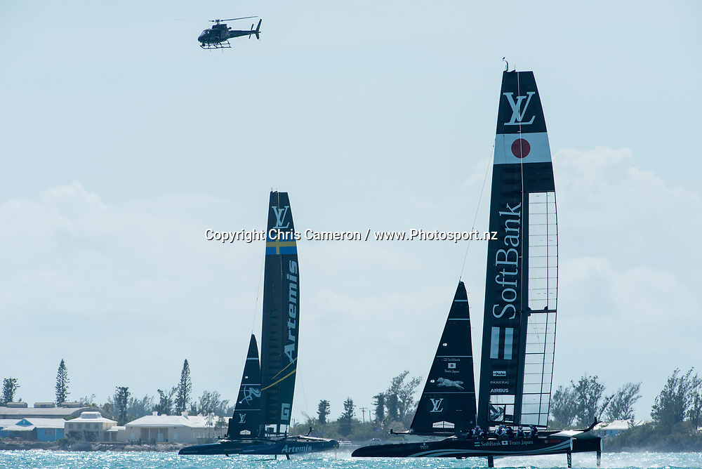The Great Sound, Bermuda. 5th June 2017. Artemis Racing (SWE) and Soft Bank Team Japan in their second race of the Louis Vuitton America's Cup Challenger Playoff Semi-Finals. Artemis won the race. © Copyright photo: Chris Cameron / www.photosport.nz