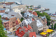 High angle view of Lower Quebec along the Saint Lawrence River, from Old Quebec, Canada.