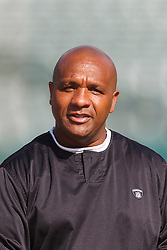 Oct 2, 2011; Oakland, CA, USA; Oakland Raiders head coach Hue Jackson stands on the sidelines before the game against the New England Patriots at O.co Coliseum. Mandatory Credit: Jason O. Watson-US PRESSWIRE