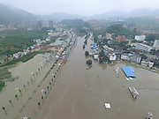 BIJIE, CHINA - JUNE 28: <br /> <br /> Aerial view of the flood caused by heavy rain in Zhijin County on June 28, 2016 in Bijie, Guizhou Province of China. Over 10 hours continuous heavy rain caused 2 people died, 1 still missing and the direct economic loss of 115.62 million yuan (about 17.39 million USD) till Tuesday in Zhijin County, Guizhou Province.<br /> ©Exclusivepix Media