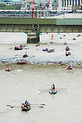 The Great River Race, London's River Marathon (also known as The UK Traditional Boat Championship) - a 21.6 Miles boat race up the River Thames from London Docklands to Ham in Surrey. It attracts over 300 crews from all over the globe and appeals to every level of competitor from those who enjoy fun, fancy dress and charity stunts, to serious sportsmen. River Thames, London, 27 September 2014.