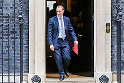 © Licensed to London News Pictures. 29/10/2019. London, UK. Foreign Secretary DOMINIC RAAB departs from No 10 Downing Street after attending the weekly cabinet meeting. Photo credit: Dinendra Haria/LNP