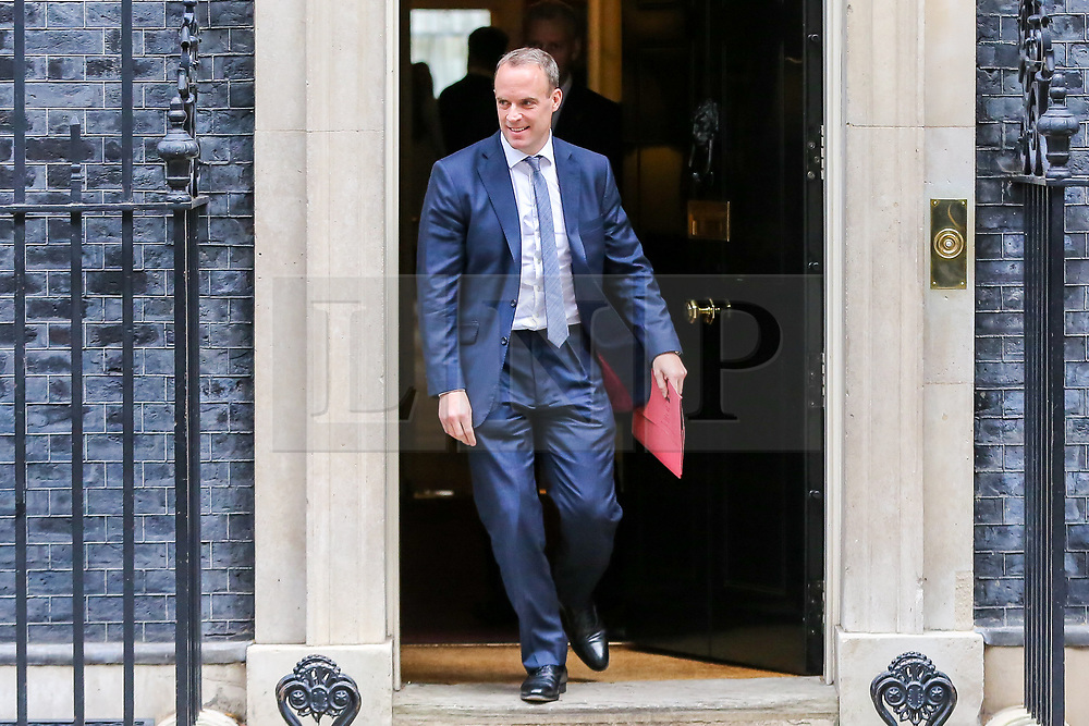 © Licensed to London News Pictures. 29/10/2019. London, UK. Foreign SecretaryDOMINIC RAAB departs from No 10 Downing Street after attending the weekly cabinet meeting. Photo credit: Dinendra Haria/LNP