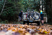 Josh Poulsen and Steve Dempsey get ready for an early morning ride on a crisp fall morning in Larrabee State Park, WA.