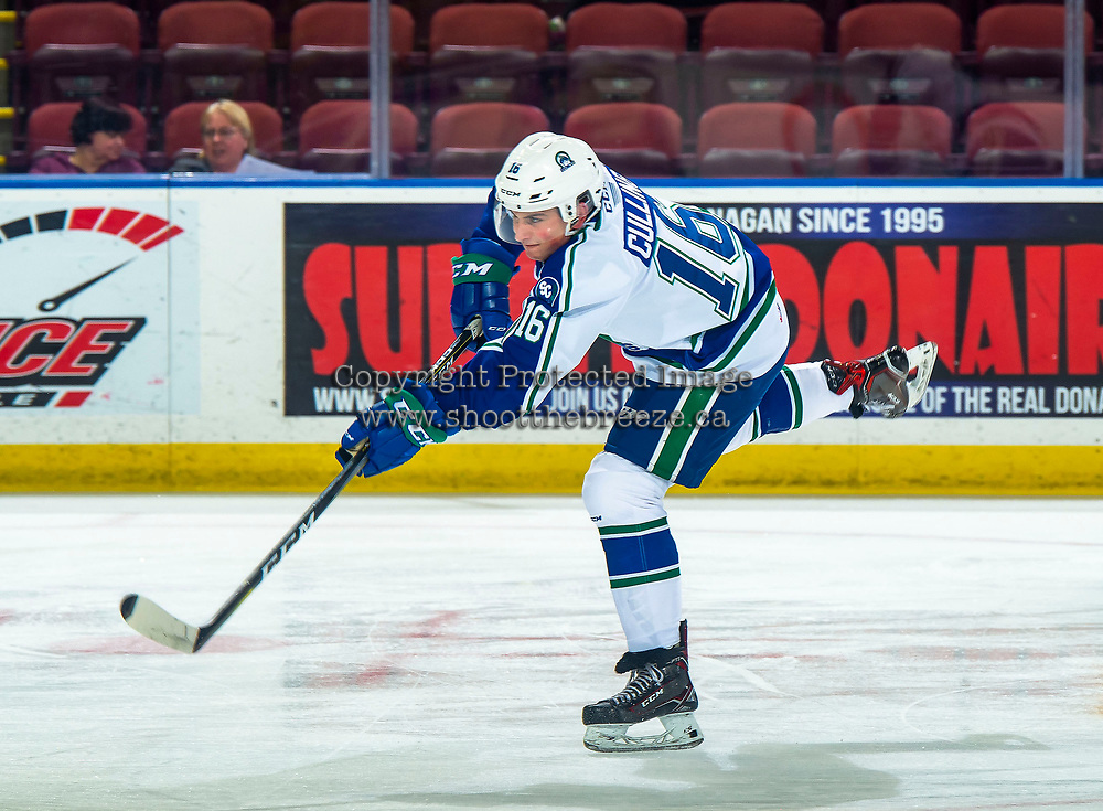 KELOWNA, BC - OCTOBER 16:  Matthew Culling #16 of the Swift Current Broncos takes a shot during warm up against the Kelowna Rockets at Prospera Place on October 16, 2019 in Kelowna, Canada. (Photo by Marissa Baecker/Shoot the Breeze)