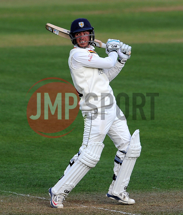 Durham's Michael Richardson flicks the ball off the bowling of Somerset's Lewis Gregory.- Photo mandatory by-line: Harry Trump/JMP - Mobile: 07966 386802 - 12/04/15 - SPORT - CRICKET - LVCC County Championship - Day 1 - Somerset v Durham - The County Ground, Taunton, England.